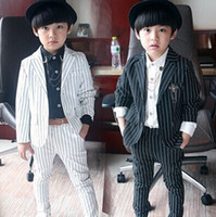 western suits - HOT boys clothing sets black and white stripe garment in western style kids clothes set business suit two piece children outfits ab1071
