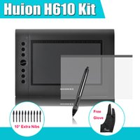 Wholesale HUION H610 Professional Graphics Drawing Digital Tablet Kit Parblo Two Finger Glove Extra Pen Nibs Protective Film