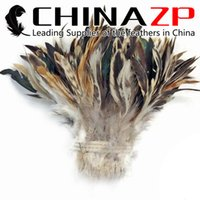 Wholesale Gold Supplier CHINAZP Crafts Factory pieces per Good Quality Natural Cream and Black Strung Rooster Chicken Feathers