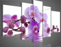 4.3 wall decor art canvas - Oil Painting Wall Art Canvas Hand Painted Water Flowers Side Pink Purple Flower Abstract Landscape Oil Painting Panel Wall Art Home Decor