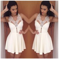 Cheap 2015 New Hot Women Lace Dress Ladies Sexy club V-neck Casual Spring Women Summer Dress Vestidos White Pro Dresses