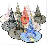 Wholesale 50pcs Halloween Costumes Halloween Party Props Cool Witches Wizard Hats Various Color Hot Sale