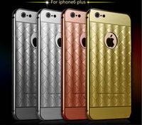 plastic lattice - Luxury Metal Bumper PC Back Cover Case Plaid Lattice Electroplate Mirror Skin Shell For iPhone s plus