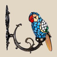 accent wall decor - macaw bird tiffany wall lamp stained glass wall mounted accent lamp for foyer novelty light fixture unique home decor gift