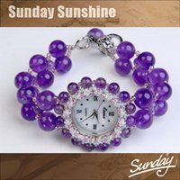 amethyst clock - Amethyst Crystal fashion women casual dress watch relogio feminino women wristwatches clock ladies purple color