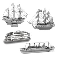 Wholesale 3D Metal Puzzles DIY Model Gift World s Ship Ferry Caribbean Black Pear Titanic Golden Hind Jigsaws Toys Present Gift