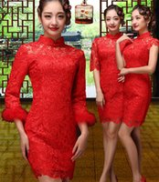 Wholesale 2014 new bride dress toast clothing cheongsam dress lace wedding dress long section of red retro autumn and winter