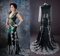 Cheap 2015 Real Image Green Arabic Kaftan Evening Dresses With Sheer Long Sleeves White Applique Luxury Crystal Beaded Abaya Dubai Formal GownsZC