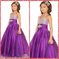 Cheap Halter Beaded Crystal A-Line Purple Pageant Dresses For Children Formal Wear Floor-Length Made In China Flower Girls Dresses Custom Online