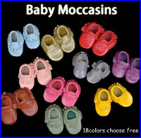 Wholesale baby moccasins soft Head Layer cow leather moccs baby booties toddler shoes pc pairs colors choose T
