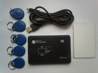 RFID rfid reader - 125KHz USB Proximity access control Smart rfid id Card Reader and writer copier EM4350 tag EM4305 card software CD