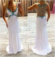 beaded jewelries - 2016 Turquoise Sparkly Jewelries Neck Sexy Back Evening Dresses Summer Vestios Plunging V neck Chiffon Sheath Illusion Back Long Prom Gowns