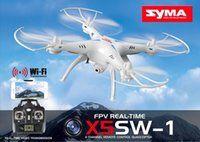 Wholesale Remote helicopter SYMA X5SW FPV RC Drone Headless Quadcopter with WiFi Camera G Axis Medium Helicopter Quad copter Model