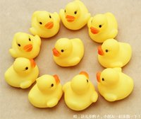 0-12 Months toys baby - Voice a yellow rubber duck infant baby bath water pinch rang early childhood educational toys wyh001