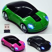 Wholesale New G Car Shape Wireless Optical Mouse Mice For Laptop PC USB Receiver Colors SV006287