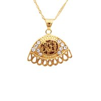 muslim jewelry - 18K Real Gold Plated Vintage Muslim Allah Pendants Rhinestone Necklace Charms Fashion Jewelry Gift