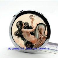 art nouveau - New Arrival Photo Mirror Mermaid Pocket Mirror Parisian Art Nouveau Compact Mirror Pocket Cosmetic Mirror