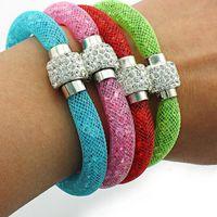 Wholesale Fashion Stardust Charm Bracelets Crystal Mesh For Women Magnetic Clasp Infinity Bracelets Bangles Jewelry Free ePacket