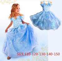 Wholesale Cinderella Dresses Party Cosplay Dress Newest Girls Kids Clothing Children Summer Clothes Blue Dress With Butterfly Factory Free DHL
