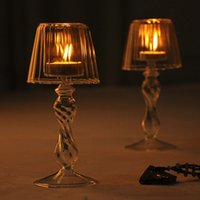 Wholesale New Unique Crystal Glass Clear Candlestick Vintage Votive Candle Holder Table Lamp