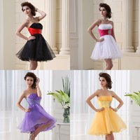 short strapless dress - Ship from USA Hot Strapless Short Prom Party Dresses Beads Purple Yellow Black White Organza Bridal Cocktail Gowns Christmas In Stock