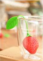 Wholesale 2016 Hot pieces cute Silicone Strawberry Design Tea Strainer Herbal Spice Infuser Filter Tools