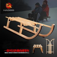 Wholesale 90cm folding wooden sled sled snowmobile wooden skis Christmas sleigh
