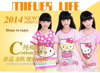 Wholesale New summer cotton cartoon children s pajamas nightgowns girls jumpsuit tracksuit