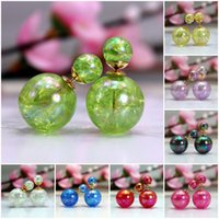 Wholesale 2015 Fashion Brand Jewelry Double Pearl Stud Earrings For Women Shiny Crackle Ball Shamballa Earings