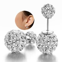 Wholesale Hot sterling silver Shamballa crystal stud earrings fashion jewelry party gift for the woman