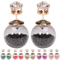 Stud crystal - Daily Deals Transparent Glass Ball Earrings Double Sided shiny beads Stud earings fashion brand crystal wedding Jewelry For Women CC