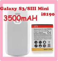 Wholesale Extended Phone Backup Battery mAh White Back Cover For Samsung Galaxy SIII S3 Mini i8190 batery bateria