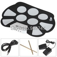 Wholesale W758 Digital Portable Silicone Pad Musical Instrument Electronic Roll up Roll up Drum Kit USB port with Stick
