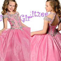 Wholesale Blush Pink Halter Ball Gown Girls Pageant Dresses Sequin Crystal Bandage Flower Girls Formal Party Prom