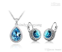 american truth - 1set Hot sale OL The truth tears18kt white gold crystals fashion Earrings and necklace Women girls gift Jewelry sets tz14