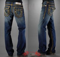 big size men pants - Europe And America rock TRUE Fashion Brand Big Size Men s Jeans Washed Straight Male RELIGION Personalized Denim Pants