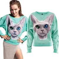 Wholesale Women New Arrival Pullover Cuffs Zipper Shiny Blue Eyed Cat Prints Mint Green Cotton Cute Sprots Sweatshirts Christmas New Boyfriend Style