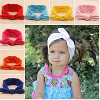Wholesale Baby headbands ears hair stick haribands cotton soft baby hair knotted hair band girl cute rabbit ears headband colors infant hairbands