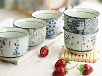 Wholesale Small Fine Blue and White Japanese Rice Bowls Authentic Handpainted Asian Style Flowering Straw Bowls Gift Set