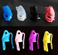 Male chastity cage - Silicone Chastity Device male penis lock sex toys Clear Black Purple Yellow Pink Blue color M800