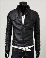 Wholesale 2015 Fashion Men s leather suit silm leather jackets coat colours size M XXL