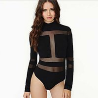 Wholesale Women s sexy high collar long sleeve wrapped chest package hip perspective gauze splice jumpsuits black S M L XL XXL XXXL