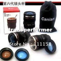 stainless steel mug - Stainless Steel ABS Silica Gel Caniam Camera Lens Mug Cup Travel Sport Coffee Cup C DHL