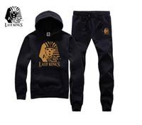 Wholesale winter men s hip hop streetwear hoody jogging suits brand last kings men cotton thick long sleeve hoodies sweat suit set lk