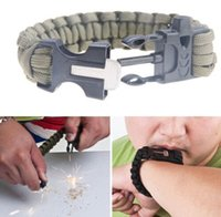 flint fire starter - Outdoor Sport Survival Paracord Parachute Bracelet Flint Fire Starter Scraper Whistle Emergency Gear Kits Hiking Camping Safety activities