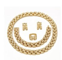 antique gold earrings - 2015 solid alloy Antique dubai design saudi k gold jewelry set