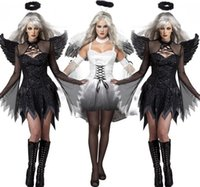 Anime Costumes angels ghosts - Halloween Party Adult Vampire Witch Darl White Angel Ghost Bride Scary Cosplay Costume