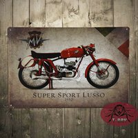 agusta sports - Vintage Garage MV Agusta Super sport Lusso Motorcyles Parts Italian Small Metal Tin Sign