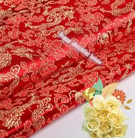 antique dolls clothes - 2m width cm AAChinese clothing Brocade cloth doll dress costume Hanfu antique garments fabrics brocade Red bottom Dragon