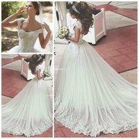 rhinestone applique - Wedding Dress Rhinestone Appliques Sweetheart Ivory Tulle Princess Wedding Gowns for dubai saudi arabia